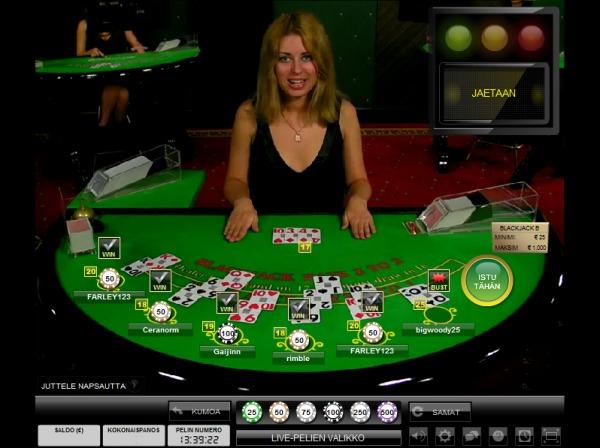blackjack-pöytä livekasinolla - Gamble Generation