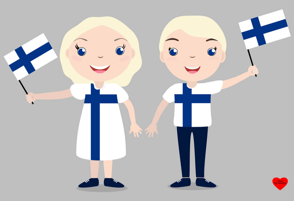 Suomalaiset tyttö ja poika heiluttamassa suomenlippua - Gamble Generation