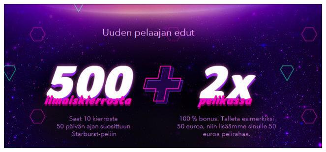 Kolikkopelit.com: 500 ilmaiskierrosta Starburstiin