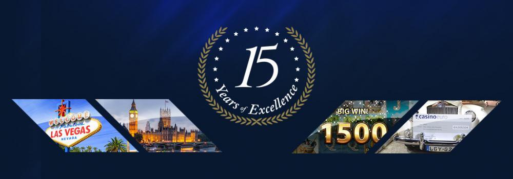 Netticasino CasinoEuro täyttää 15 vuotta! Tarjolla on ilmaiskierroksia, bonuksia ja muuta mukavaa