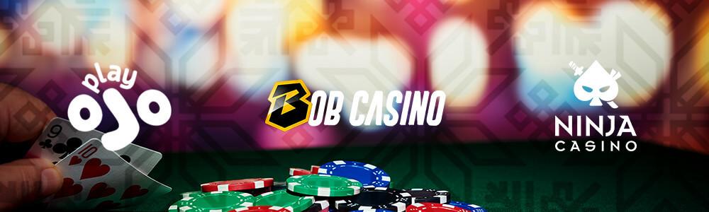 PlayOjo, Bob Casino ja Ninja Casino logot sekä pelimerkkejä