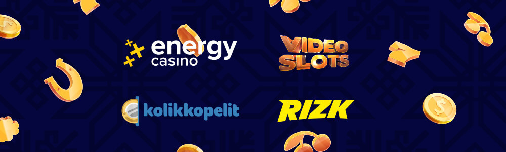EnergyCasino, Videoslots, Kolikkopelit ja Rizk logot