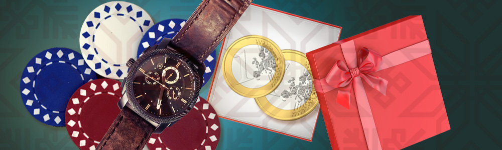 Pelimerkkejä, kello, kolikoita ja lahjapaketti casinolla