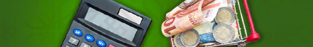 Laskin, rahaa ja ostoskärry