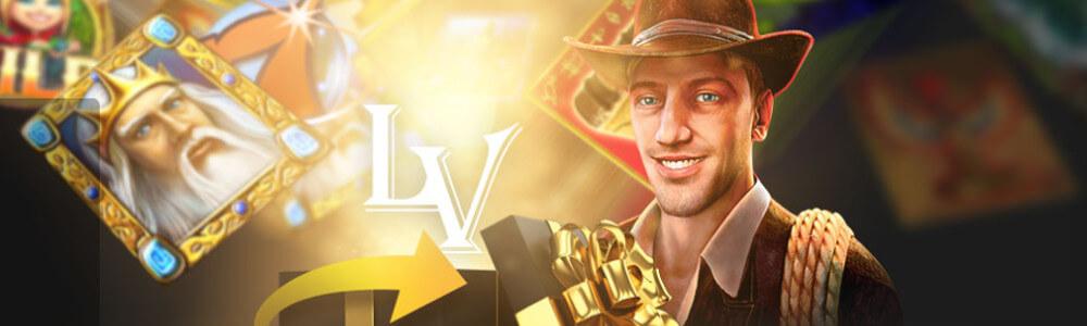 Lännen mies, LV-kasinon logo, lahjapaketti ja kuninkaan kuva