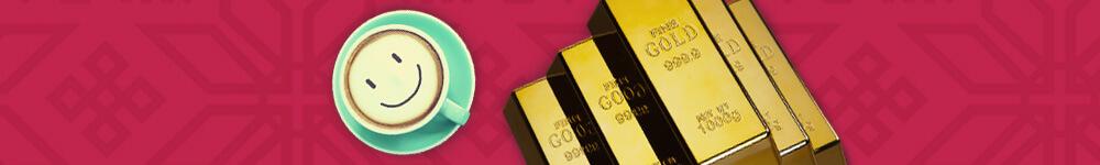 Hymyilevä kahvikuppi ja kultaharkkoja