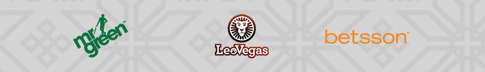 Mr Green, LoeVegas ja Betsson kasinoiden logot