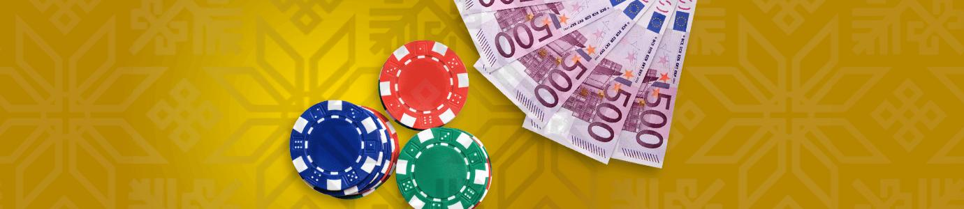 Kasinon pelimerkkejä ja seteleitä