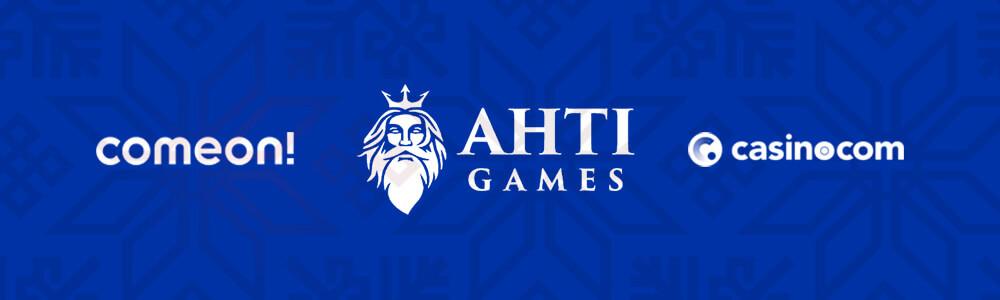 Kasinoiden logot ComeOn!, Ahti ja Casino.com