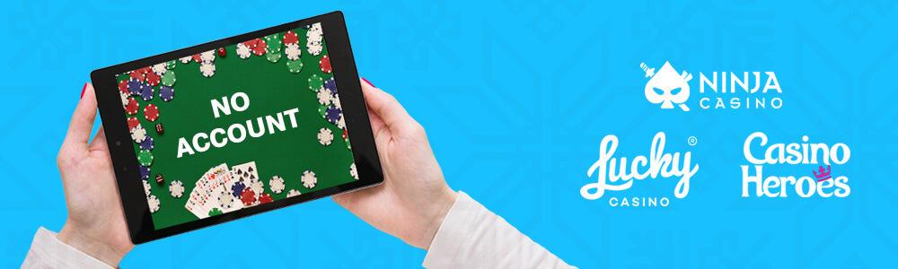 Tabletti ja kädet sekä logot Ninja Casino, Lucky Casino ja Casino Heroes
