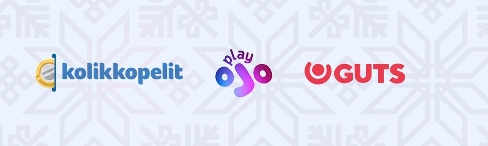 Kolikkopelit, PlayOJO ja Guts logot